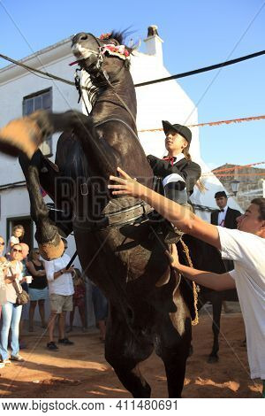 Sant Climent, Menorca / Spain - June 23, 2016: The Knights At ´jaleo´ Traditional Festival In Sant C