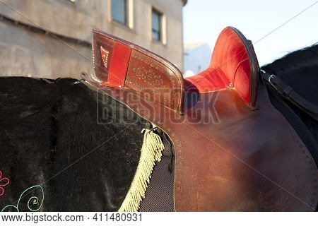 Sant Climent, Menorca / Spain - June 23, 2016: A Saddle At ´jaleo´ Traditional Festival In Sant Clim