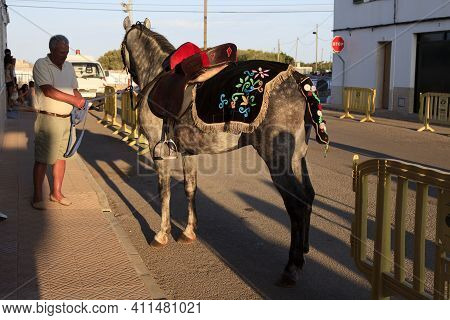 Sant Climent, Menorca / Spain - June 23, 2016: A Horse At ´jaleo´ Traditional Festival In Sant Clime