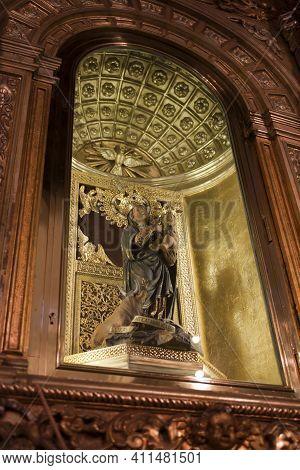 El Toro, Menorca / Spain - June 25, 2016: The Virgin Mary In Sanctuary At Mount Toro (el Toro), Es M