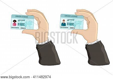 Car Driver License In Hand Isolated On White Background. Hand Holding Or Showing The Car Driver Lice
