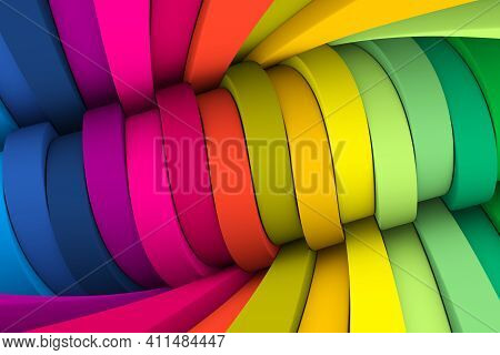 Colorful Distortion Abstract Background 3d Render Illustration