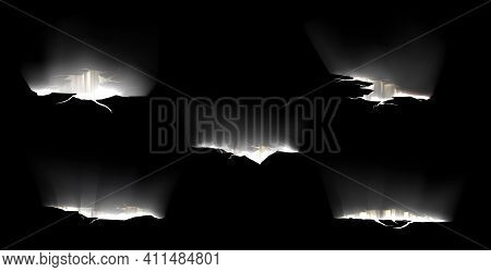 Ground Cracks With Light Inside, Breaks On Land Surface Isolated On Black Background. Vector Realist