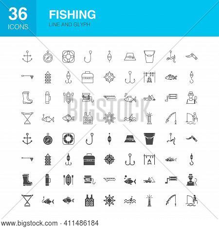 Fishing Line Web Glyph Icons. Vector Illustration Of Fisherman Outline And Solid Symbols.