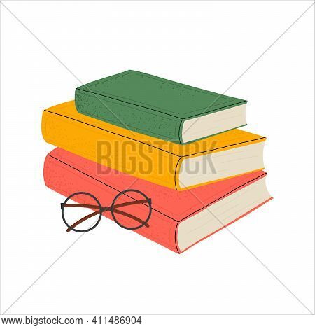 Book Festival. Stack Of Books Of Different Genres With Glasses On An Isolated White Background. Read