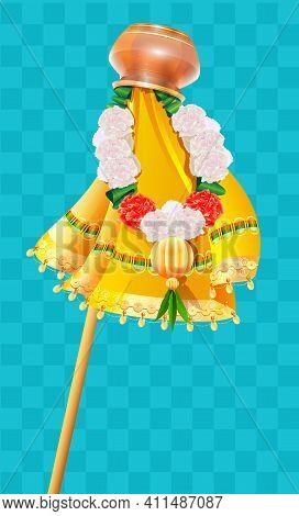 Inverted Pot On Stick And Flower Beads Garland Ugadi Holiday Symbol Gudi Padwa. Vector Cartoon Illus
