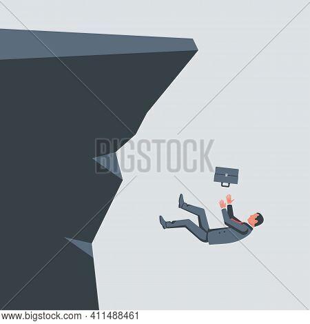 People Falling Cliff. Businessmen Follow Each Other. Unprofitable Investments, Business Failure. Vec