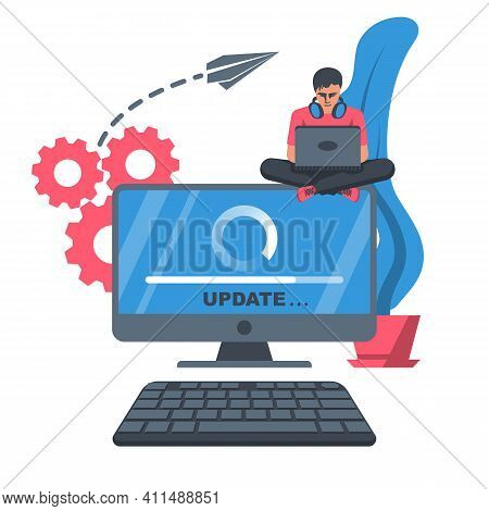 System Update. The Programmer Behind The Computer Screen. New Version Software. Installing Update Pr