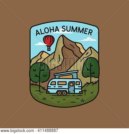 Camping Adventure Logo, Aloha Summer Emblem Design With Mountains, Rv Trailer And Hot Balloon. Unusu