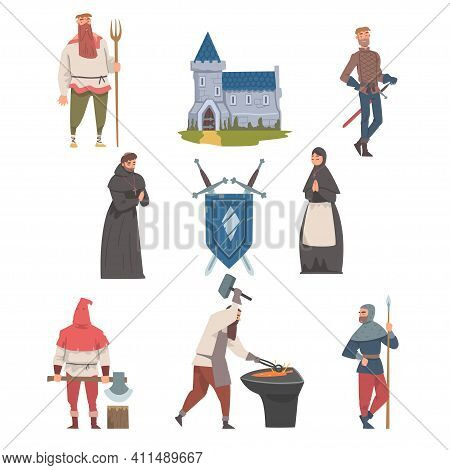 Middle Ages With Medieval People Characters, Coat Of Arms And Fortress Vector Illustration Set
