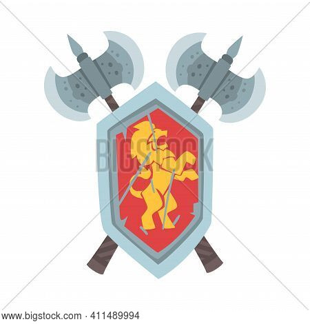 Coat Of Arms On Escutcheon Or Shield With Crossed Ax Vector Illustration