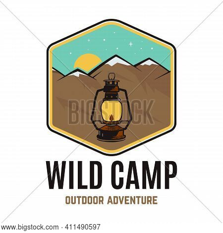 Wild Camp Logo, Outdoor Adventure Retro Camping Adventure Emblem Design With Mountains And Camp Lant