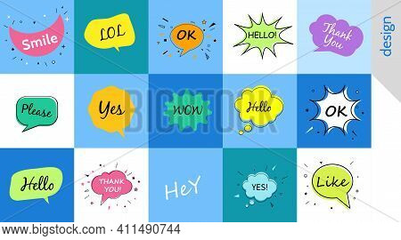 Hello Wow Ok Yes, Speech Bubbles With Dialog Words Vector Bubbles Speech Illustration Thinking And S