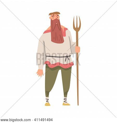 Bearded Medieval Male Peasant Standing With Fork Vector Illustration