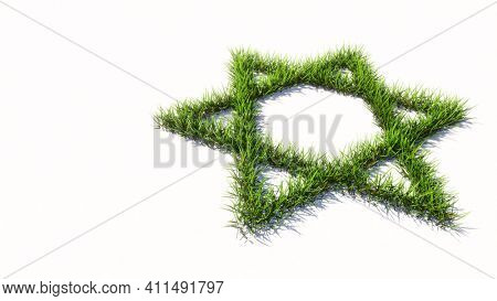 Concept or conceptual green summer lawn grass isolated on white background, sign of religious hebrew David star. 3d illustration metaphor for Judaism and Israel, religion, spirituality, prayer belief