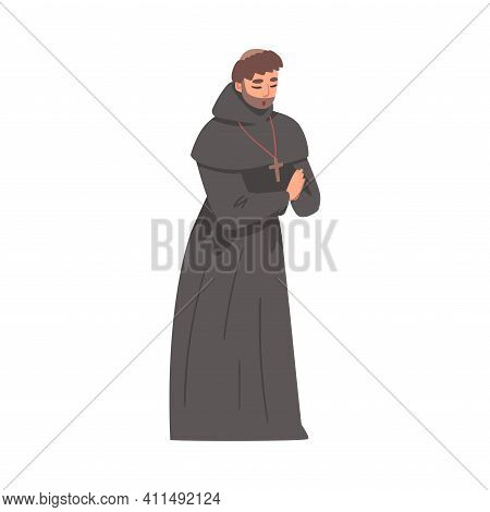 Medieval Man Priest Or Monk Wearing Hooded Gown Praying Vector Illustration