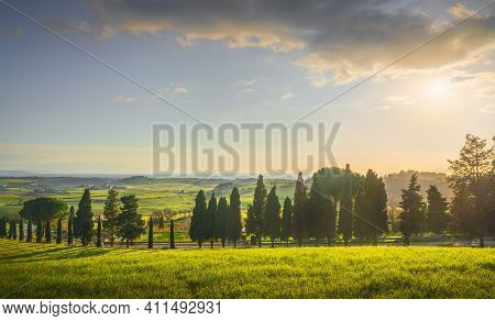 Sunset Landscape In Maremma Countryside. Rolling Hills, Cypress Trees Road And Sea On Background. Ca