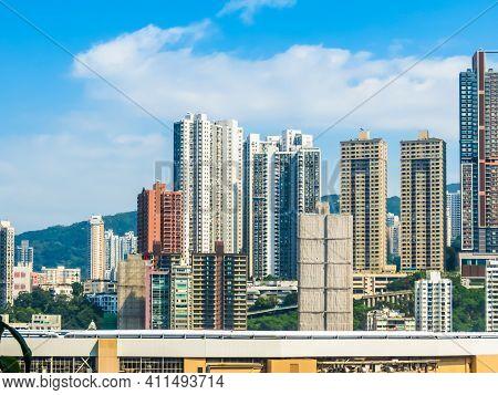 View Of Hong Kong Skyscrapers. Central District, Hong Kong