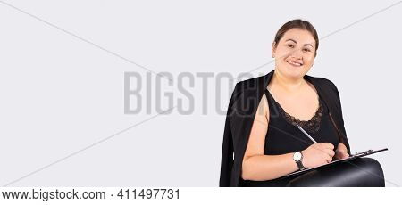 Banner, Long Format. Close Up Photo Beautiful Business Lady, Best Boss Writing Marks Diary Notebook