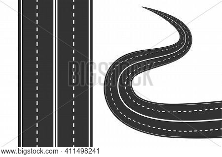 Road With White Markings Isolated On White Background. Street Icon. Straight And Curved Asphalt Road