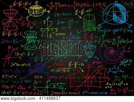 Mathematical Colorful Formulas Drawn By Hand On A Black Unclean Chalkboard For The Background. Vecto