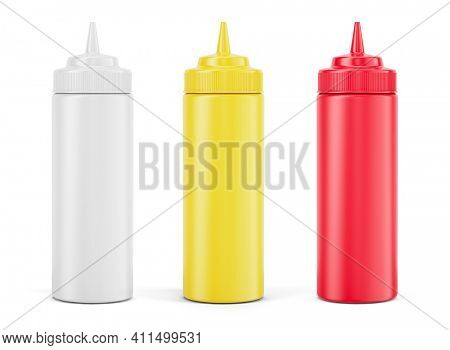 Sauce bottles - Mayonnaise Ketchup Mustard Ketchup squeeze bottle on white background - 3d rendering