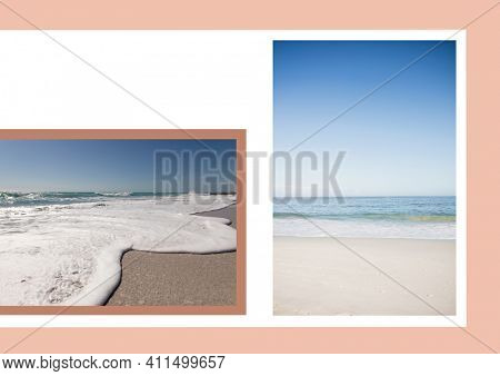 Composition of two beach and seaside images with white copy space on pale pink background. seaside holiday and beach leisure concept, digitally generated image.