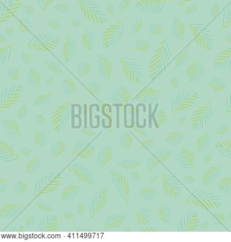 Mono Print Style Scattered Tiny Leaves Seamless Vector Pattern Background. Blended Monochrome Pastel
