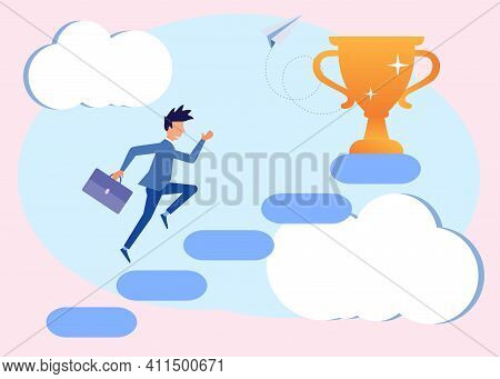 Flat Style Vector Illustration, Business Concept. Reaching The Goals Of The Businessman Climbing The