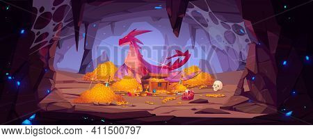 Dragon Protect Gold Pile In Cave, Fantasy Character Guard Treasure In Mountain Cavern. Magic Creatur