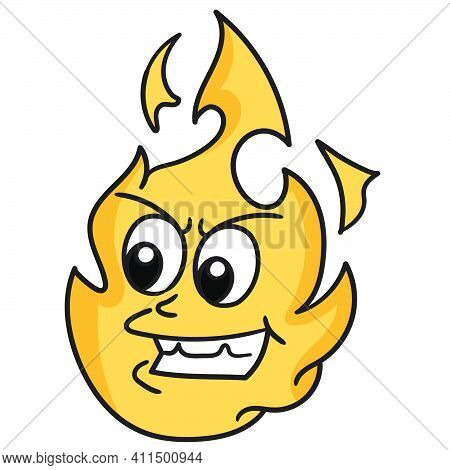 Angry Fire Emoticon Doodle Kawaii. Doodle Icon Image. Cartoon Caharacter Cute Doodle Draw