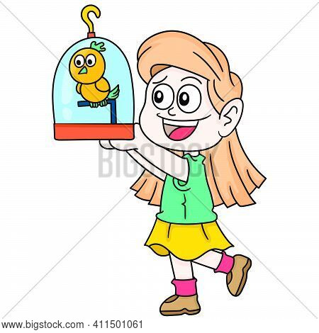 Happy Daughter Raising Her Pet Bird Doodle Kawaii. Doodle Icon Image. Cartoon Caharacter Cute Doodle