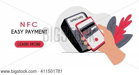 Contactless Payment With A Smartphone Nfc Technology Concept. Horizontal Banner Header Web Template.