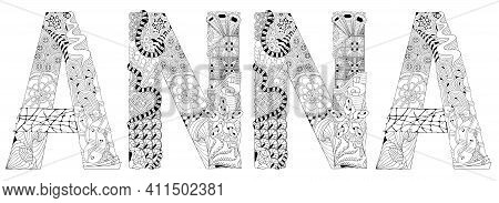 Hand-painted Art Design. Hand Drawn Illustration Female Name Anna For T-shirt And Other Decoration