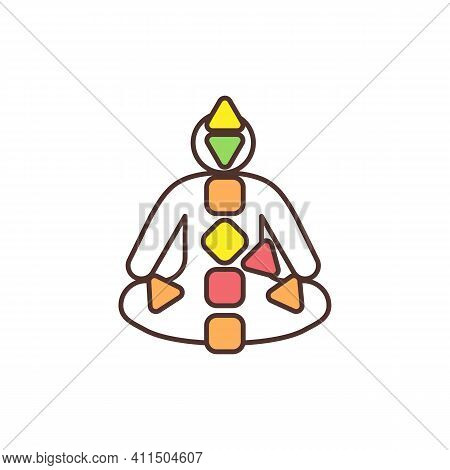 Human Design Chart Rgb Color Icon. Natural Energy Flow. Centers And Channels. Chakra System. Body Co