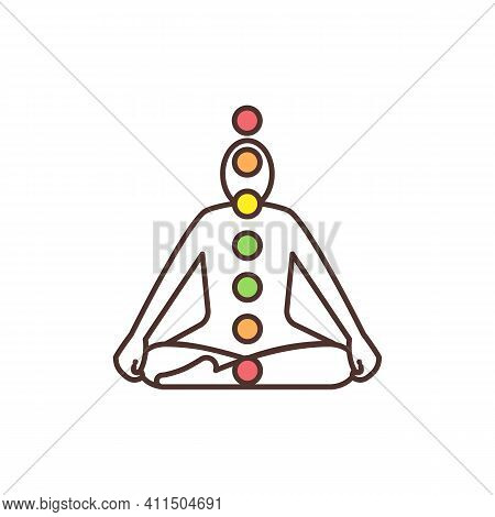 Chakra System Rgb Color Icon. Energy Centers In Human Body. Chakras Functioning Along Spine. Energy