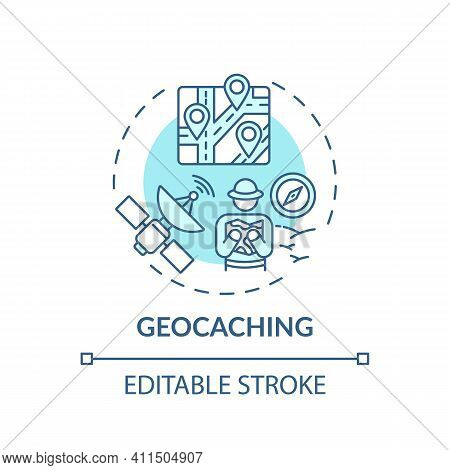 Geocaching Concept Icon. Outdoor Family Activities. Outdoor Recreational Activity For Families With