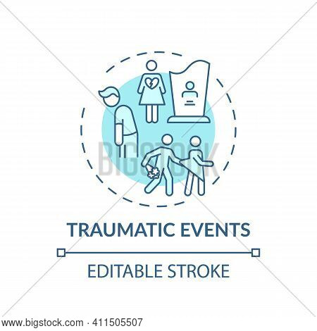 Traumatic Events Concept Icon. Online Family Therapy Types. Experiences That Put Person At Risk Of D
