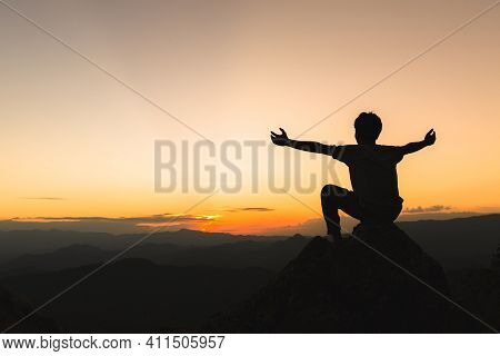 Silhouette Of Christian Man Hands Praying To God, Man Pray For God Blessing To Wishing Have A Better
