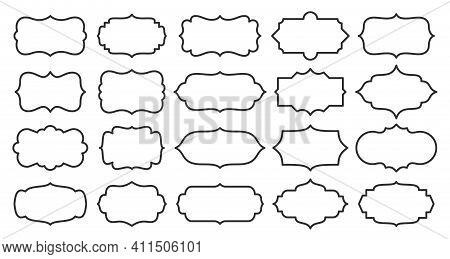 Label Set, Different Shape, Line Style. Contour Frame For Text About Product, Sale Info, Certificate