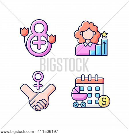 Feminism Rgb Color Icons Set. Girl Power. Women Day. Paid Maternity Leave. Women In Government. Move