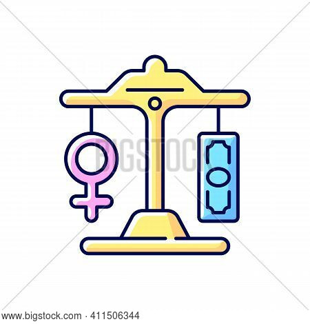 Equal Pay Rgb Color Icon. Gender Pay Gap Decrease. Movement For Equalization Of Women Right. Differe