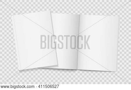 Two Realistic Blank Book On Transparent Background. Open And Closed Vertical Brochure Page, Notebook