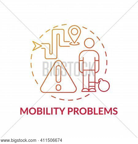 Mobility Problems Concept Icon. Business And Working Of Company Idea Thin Line Illustration. Restric
