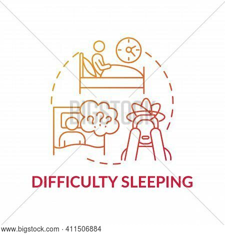 Difficulty Sleeping Concept Icon. Lose Sleep Idea Thin Line Illustration. Stress And Depression. Phy