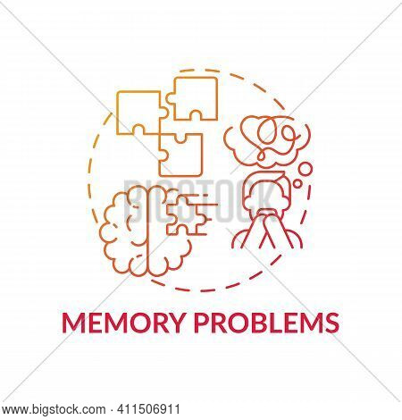 Memory Problems Concept Icon. Memory Loss And Confusion Idea Thin Line Illustration. Results Of Seve