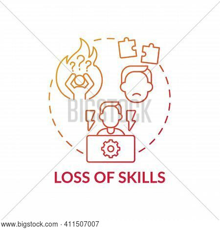Loss Of Skills Concept Icon. Unemployed Employees Losing Experience Idea Thin Line Illustration. Inc