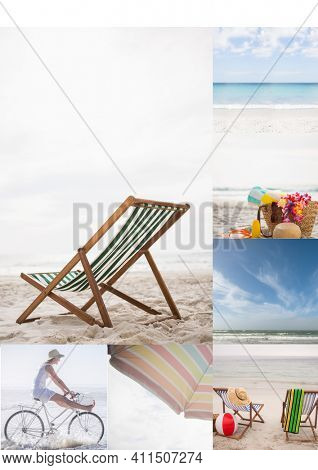 Composition of five beach and seaside images with deckchair and woman riding bicycle. seaside holiday and beach leisure concept, digitally generated image.