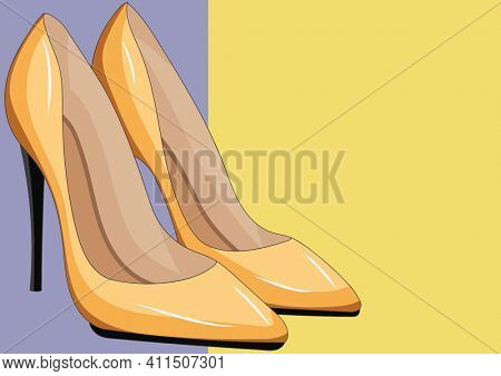 Illustration of stiletto heeled yellow shoes on yellow and lilac background. fashion and glamour concept, digitally generated image.