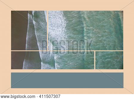 Composition of aerial sea images and grey copy space band on pale pink background. holiday, travel and nature concept with copy space, digitally generated image. space